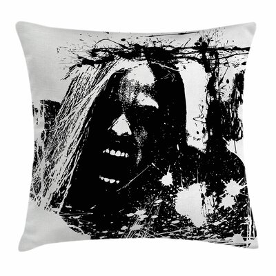 Zombie Decor Crazy Man Horror Square Pillow Cover Size: 16 x 16