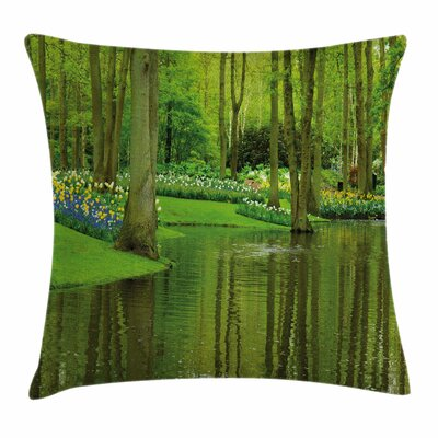 Nature Forest with Lake Botany Square Pillow Cover Size: 16 x 16