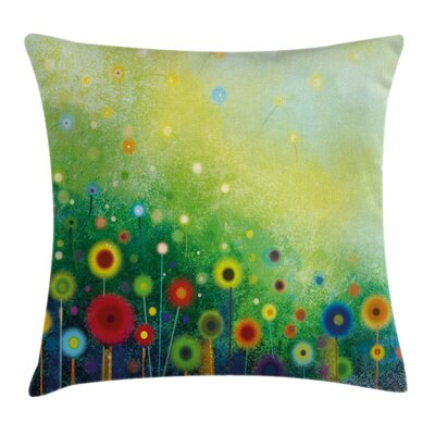 Abstract Art Retro Dandelions Square Pillow Cover Size: 16 x 16