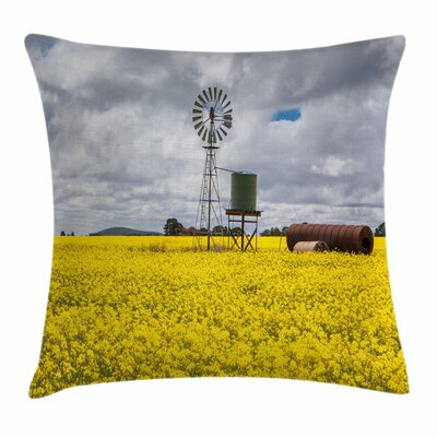 Windmill Decor Canola Meadow Square Pillow Cover Size: 24 x 24