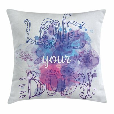 Fitness Ethnic Calligraphy Art Square Pillow Cover Size: 16 x 16
