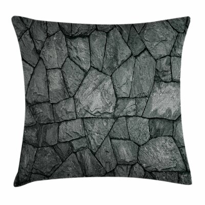 Stone Wall Rough Rusty Square Pillow Cover Size: 24 x 24