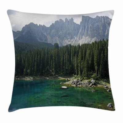 Forest Aerial View Pines Lake Square Pillow Cover Size: 16 x 16
