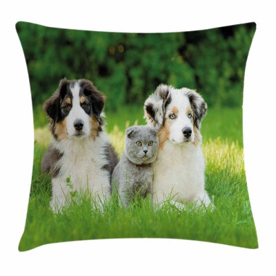 Dog Puppy Family Pillow Cover Size: 24 x 24
