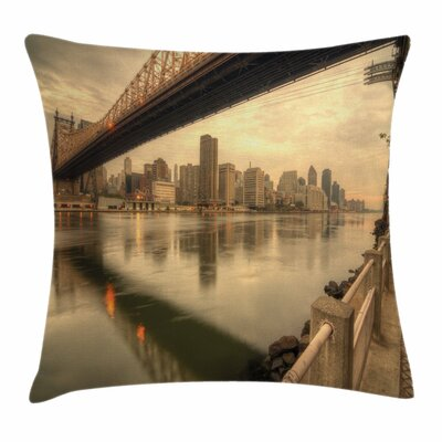 United States Queenboro Bridge Square Pillow Cover Size: 16 x 16