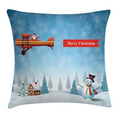 Christmas Santa Plane Snowman Square Pillow Cover Size: 16 x 16