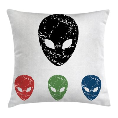 Grunge Alien Heads Art Square Pillow Cover Size: 24 x 24