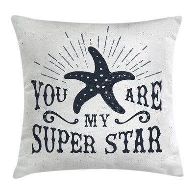 Starfish Decor Vintage Label Square Pillow Cover Size: 16 x 16