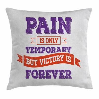 Fitness Retro Victory Win Wish Square Pillow Cover Size: 18 x 18