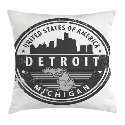 Detroit Decor Michigan Stamp Square Pillow Cover Size: 16 x 16