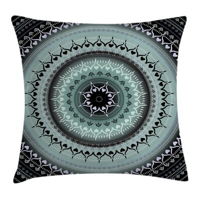 Fabric Vintage Mandala Circles Square Pillow Cover Size: 18 x 18