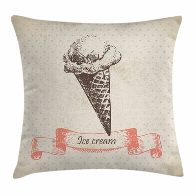 Ice Cream Old Icon Dots Square Pillow Cover Size: 16 x 16