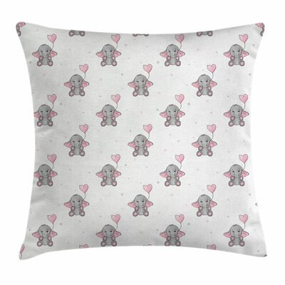 Elephant Heart Balloons Square Pillow Cover Size: 18 x 18