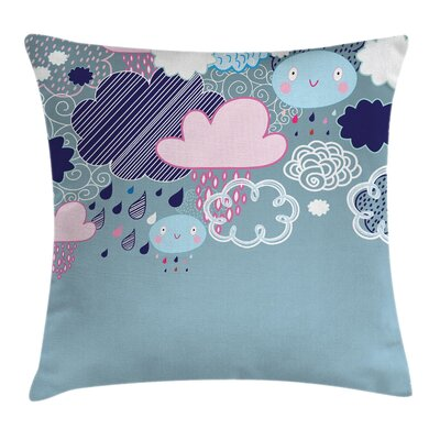 Kids Room Decor Cartoon Rain Square Pillow Cover Size: 18 x 18