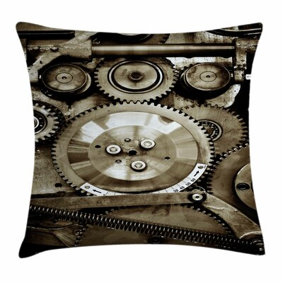 Aged Gears Square Pillow Cover Size: 18 x 18