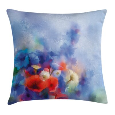Flower Hazy Painting Effect Square Pillow Cover Size: 24 x 24