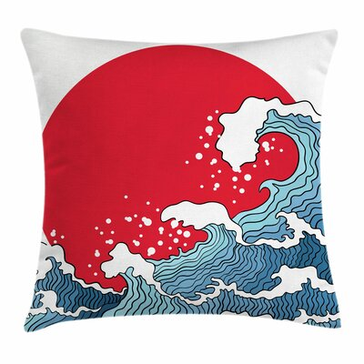 Japanese Wave Sun Tsunami Square Pillow Cover Size: 16 x 16