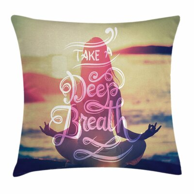 Yoga Woman Calm Sunset Beach Square Pillow Cover Size: 18 x 18