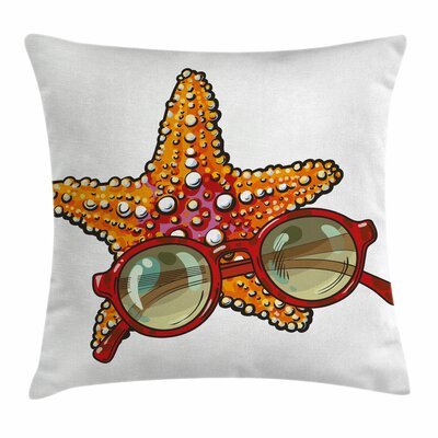 Starfish Decor Tropical Holiday Square Pillow Cover Size: 16 x 16