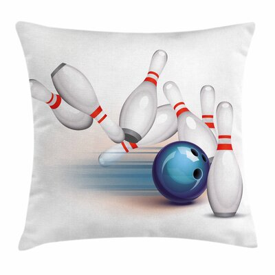 Bowling Party Thrown Ball Hit Square Pillow Cover Size: 24 x 24