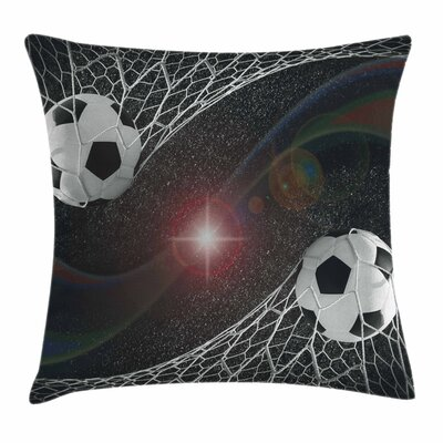 Teen Room Decor Goal Match Win Square Pillow Cover Size: 16 x 16
