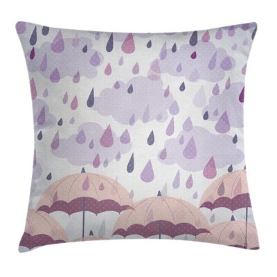 Umbrellas Rain Square Pillow Cover Size: 18 x 18