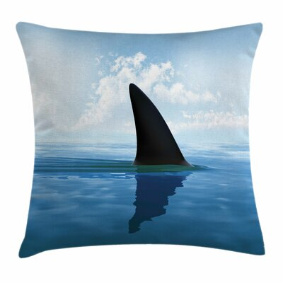 Shark Fin Sea Surface Danger Square Pillow Cover Size: 18 x 18