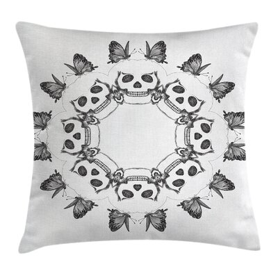 Fabric Gothic Skulls Butterfly Square Pillow Cover Size: 16 x 16