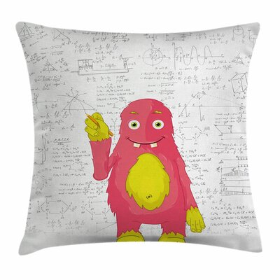 Funny Smart Monster Square Pillow Cover Size: 16 x 16