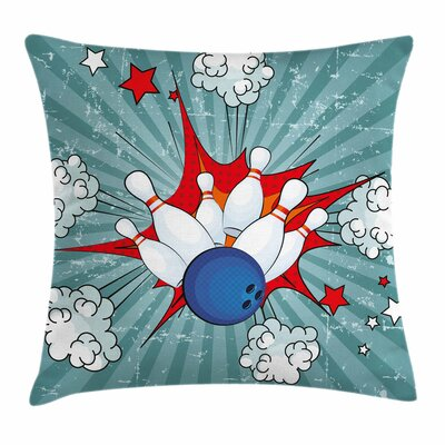 Bowling Party Retro Comic Blast Square Pillow Cover Size: 16 x 16