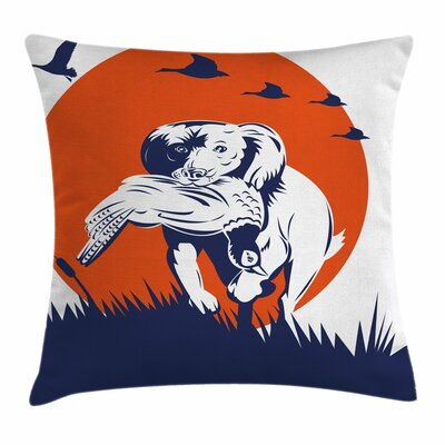 Gun Dog Ducks Square Pillow Cover Size: 18 x 18