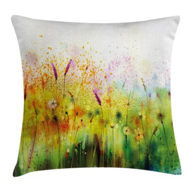 Violet Garden Flower Square Pillow Cover Size: 16 x 16