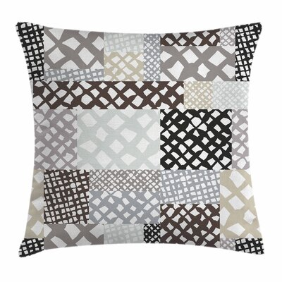 Patchwork Style Figures Square Pillow Cover Size: 18 x 18