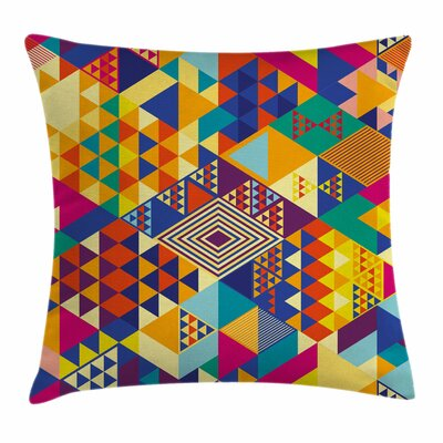 Colorful Modern Triangles Artsy Square Pillow Cover Size: 16 x 16