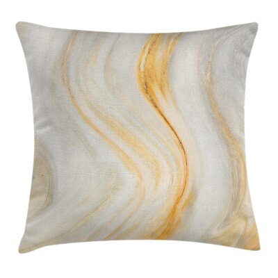 Cream Wavy Marble Effect Square Pillow Cover Size: 16 x 16