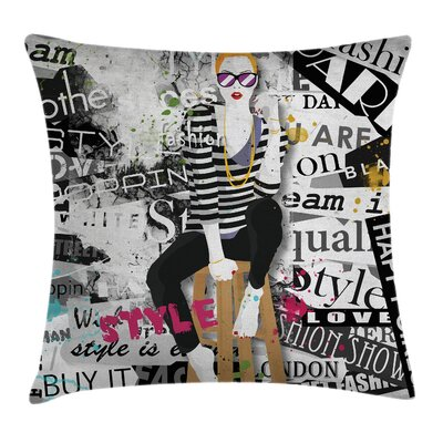 Elegant Fashion Girl Grunge Square Pillow Cover Size: 16 x 16