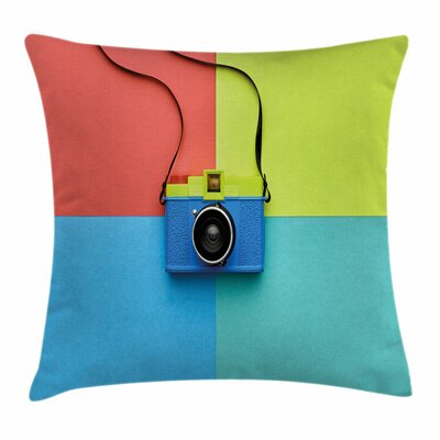 Pastel Retro Camera Hipster Square Pillow Cover Size: 18 x 18
