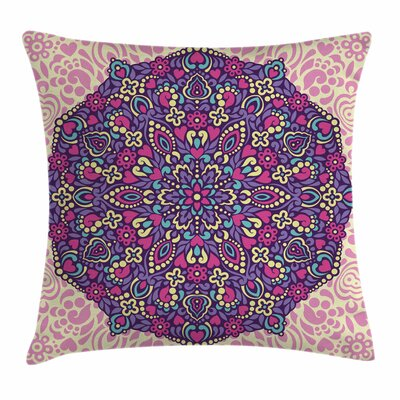 Mandala Floral Cosmos Square Pillow Cover Size: 16