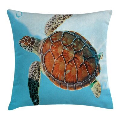 Turtle Sea Caribbean Square Pillow Cover Size: 16 x 16