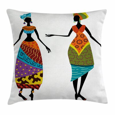 African Woman Tribal Costumes Square Pillow Cover Size: 18 x 18