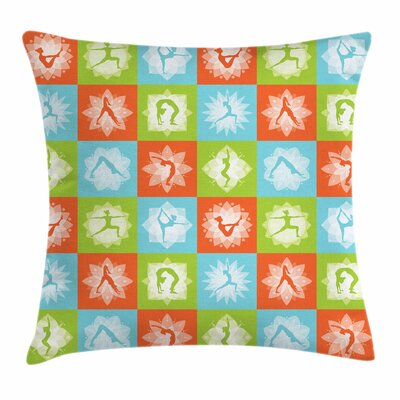 Yoga Mind and Body Poses Lotus Square Pillow Cover Size: 16 x 16