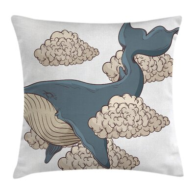 Whale Sky Clouds Animal Fish Square Pillow Cover Size: 24 x 24