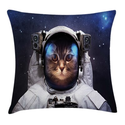 Space Kitty Suit Square Pillow Cover Size: 18 x 18