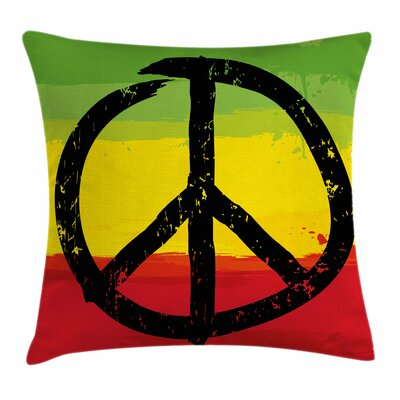 Rasta Grunge Hippie Peace Sign Square Pillow Cover Size: 16 x 16