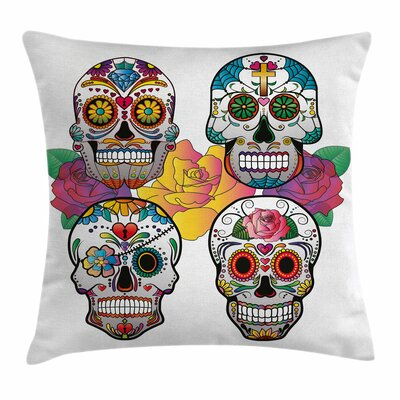 Sugar Skull Rich Colors Ornate Square Pillow Cover Size: 16 x 16