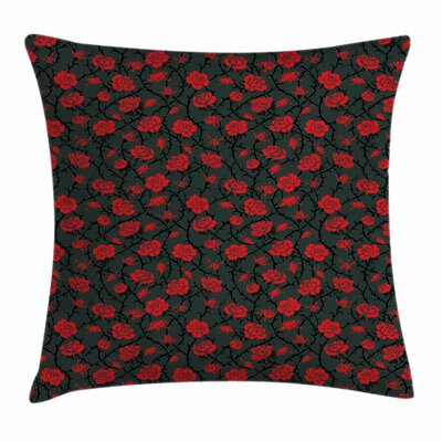 Mystic Forest Rose Swirls Square Pillow Cover Size: 18 x 18