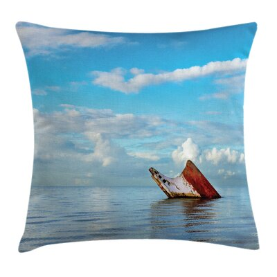 Nautical Ship Wreck Landscape Square Pillow Cover Size: 24 x 24