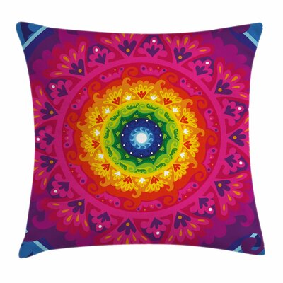Purple Mandala Rainbow Spiral Square Pillow Cover Size: 16 x 16