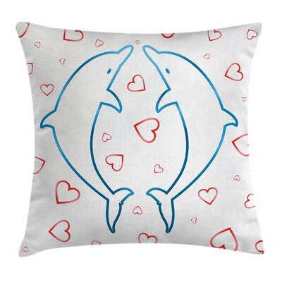 Animal Cartoon Dolphins Love Square Pillow Cover Size: 24 x 24