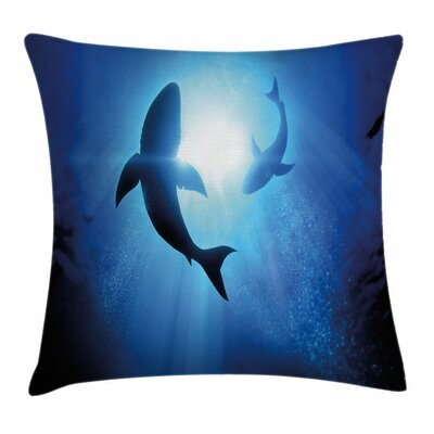 Shark Fishes Circling Pillow Cover Size: 24 x 24